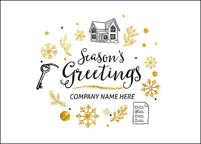 Mortgage Icons Christmas Card (Glossy White)